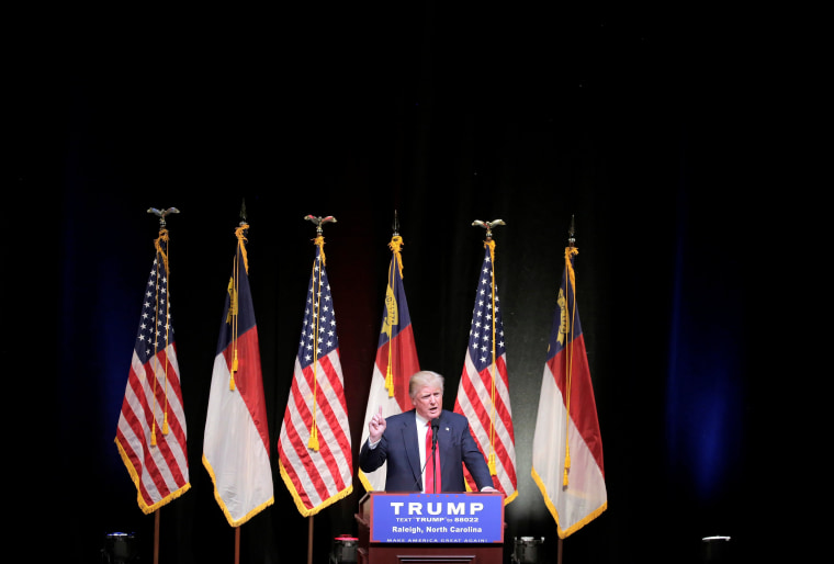 Image: Republican U.S. presidential candidate Donald Trump speaks at a campaign rally in Raleigh.