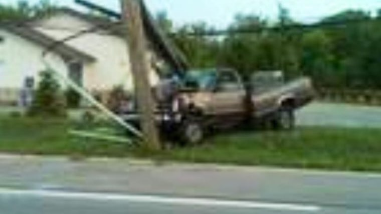 Photo of Cole Ledford's crashed pickup truck in  Ohio (August 8, 2010).