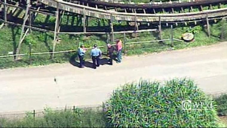 Chopper 11 over scene at Idlewild Park after child falls off roller coaster in Ligonier, Pennsylvania.