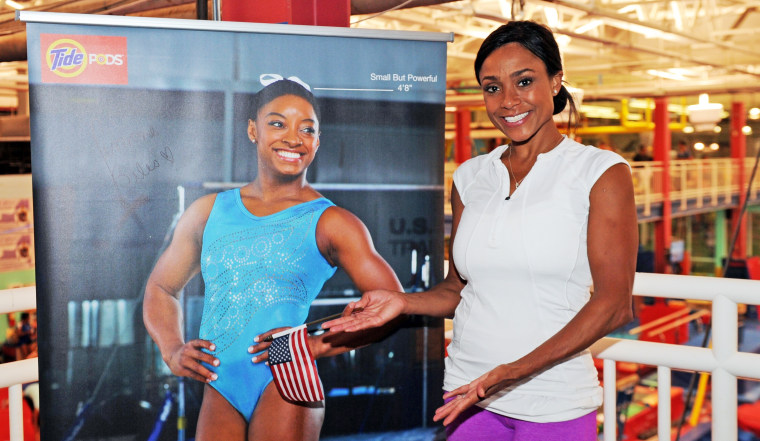 Dominique Dawes at the Strong But Powerful Event sponsored by Tide at Chelsea Piers on August 9, 2016.