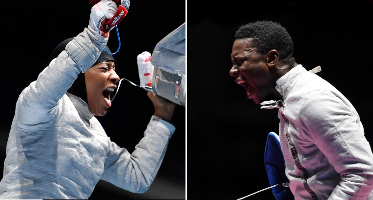 Team USA fencers Ibtihaj Muhammad and Darryl Homer celebrate victories during the 2016 Rio Olympics.