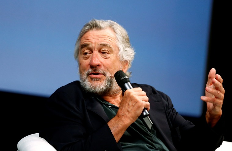 """Image: Actor Robert De Niro talks to reporters and film professionals during """"Coffee with..."""" event during the 22nd Sarajevo Film Festival in Sarajevo"""