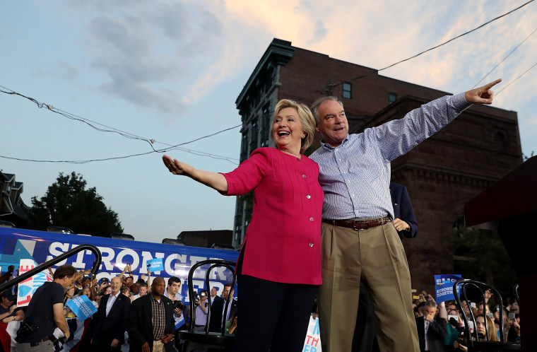 Image: ***BESTPIX*** Hillary Clinton And Tim Kaine Take Campaign Bus Tour Through Pennsylvania And Ohio