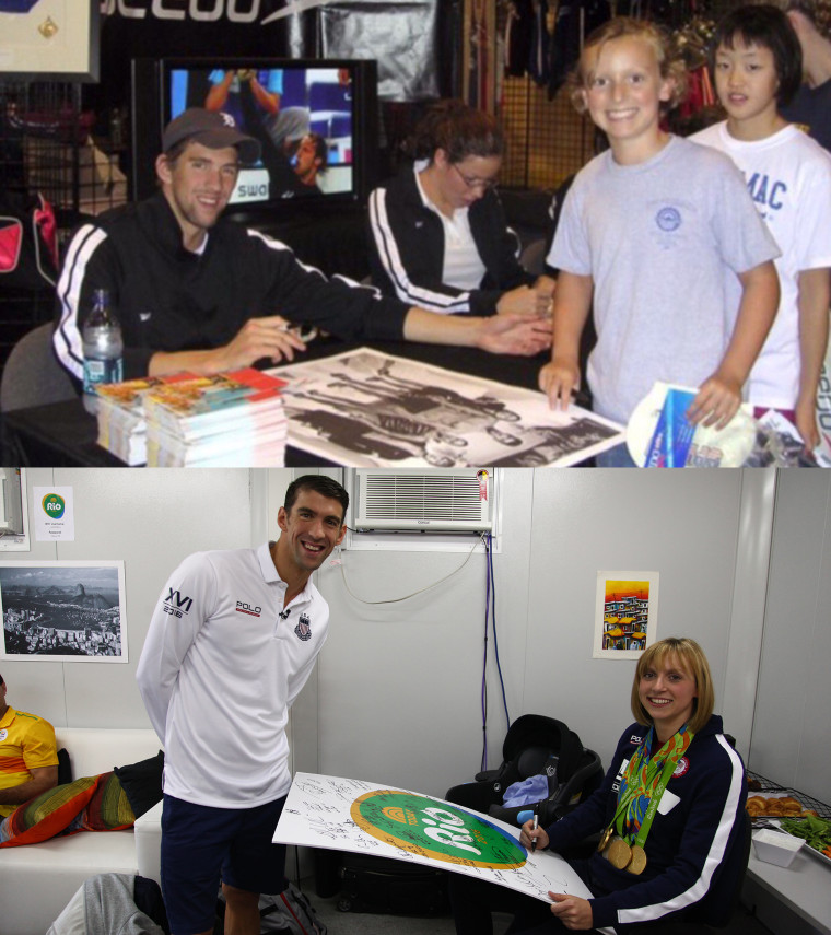 9-year-old Katie Ledecky gets an autograph from Michael Phelps in 2006... and co-signs her own in 2016!