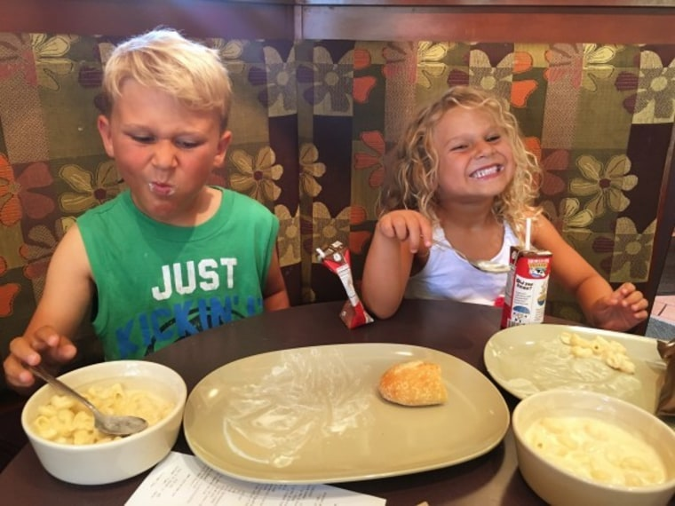 Kids eating in a restaurant