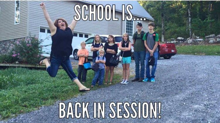 The Gardners created this meme last year as a way of sharing their funny back-to-school photo with family and friends.
