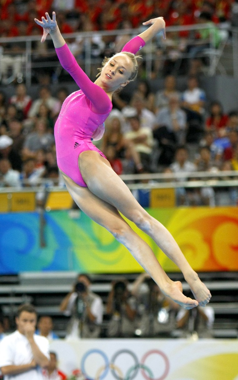 Image: Nastia Liukin of the U.S. competes in the floor exercise during the women's individual all-around artistic gymnastics final at the Beijing 2008 Olympic Games