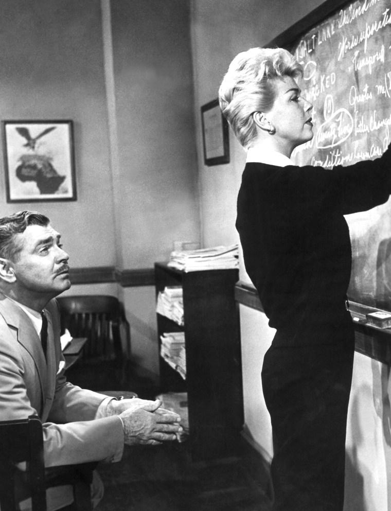 TEACHER'S PET, Clark Gable, Doris Day, 1958, blackboard