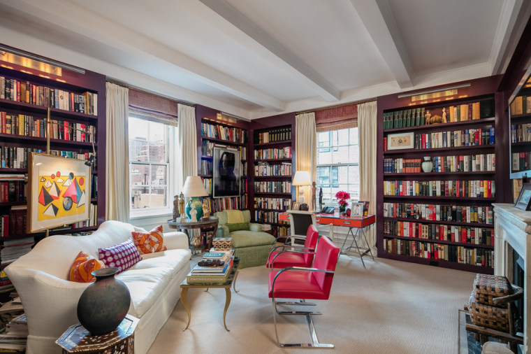 The library room in Ina Garten's Manhattan apartment.