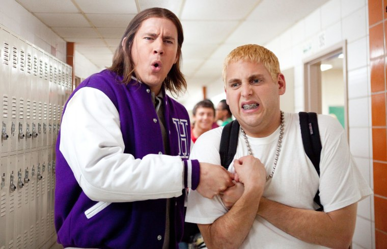 """Channing Tatum, left center, and Jonah Hill in Columbia Pictures' """"21 Jump Street."""""""