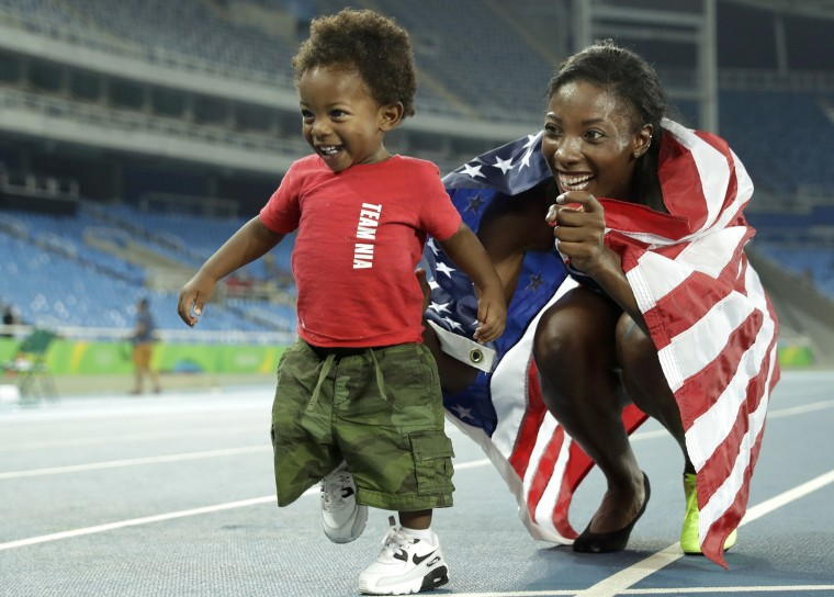 Nia Ali and her son Titus