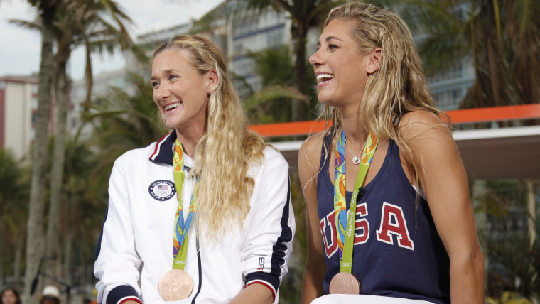 Volleyball stars Kerri Walsh Jennings and April Ross discuss their bronze medal win with TODAY.