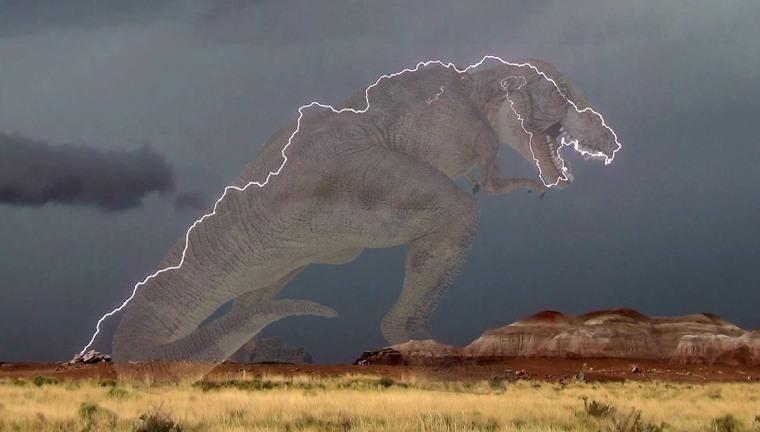 T. rex lightning mock up