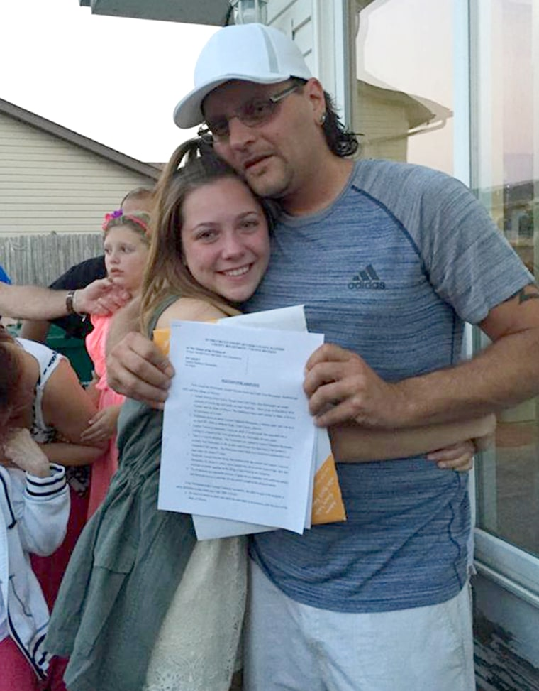 Teen asks mom's boyfriend to adopt her at graduation party.