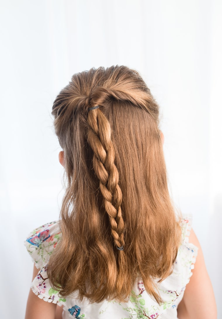Half Braided Up Do Hairstyle For Kids