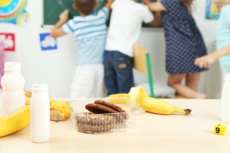 Kids snack in classroom