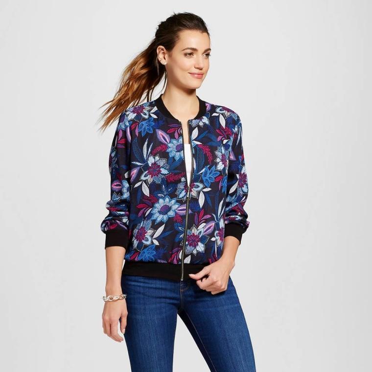 Como Black floral bomber jacket from Target
