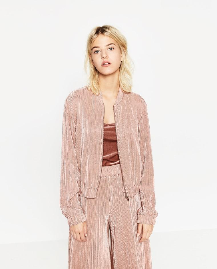 Zara pleated bomber jacket