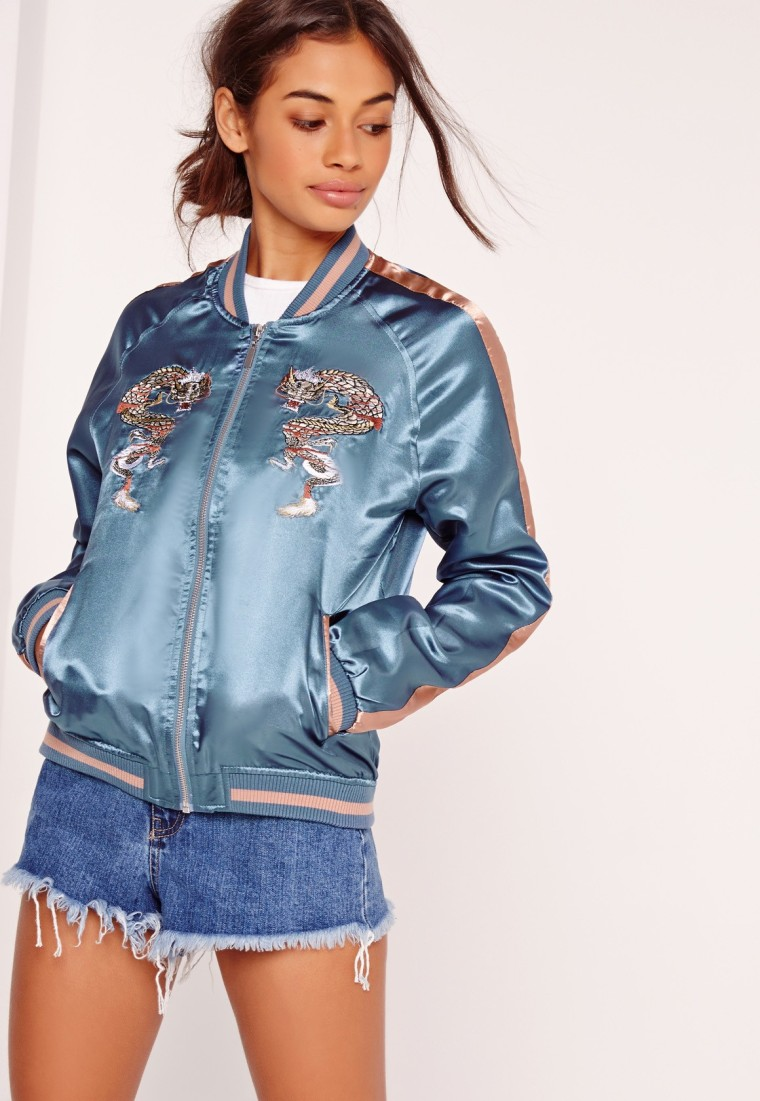 Missguided Dragon Embroidered Bomber Jacket