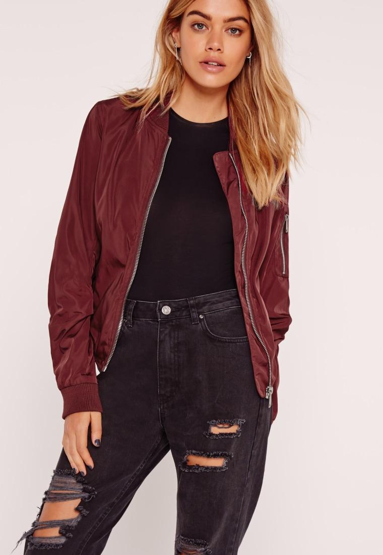 Missguided lightweight zip burgundy bomber jacket