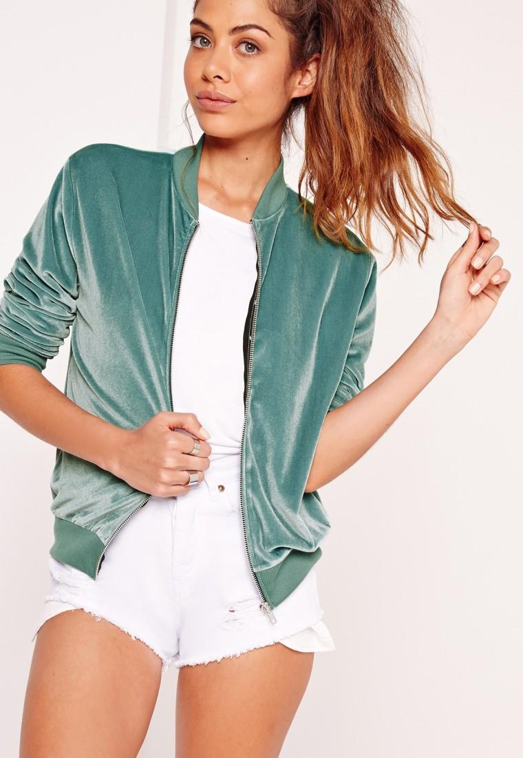 Missguided green velvet bomber jacket
