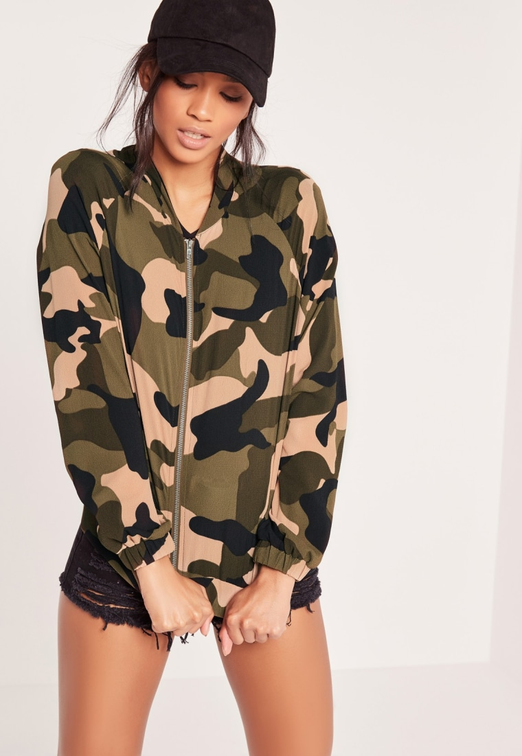 Missguided camo print bomber jacket