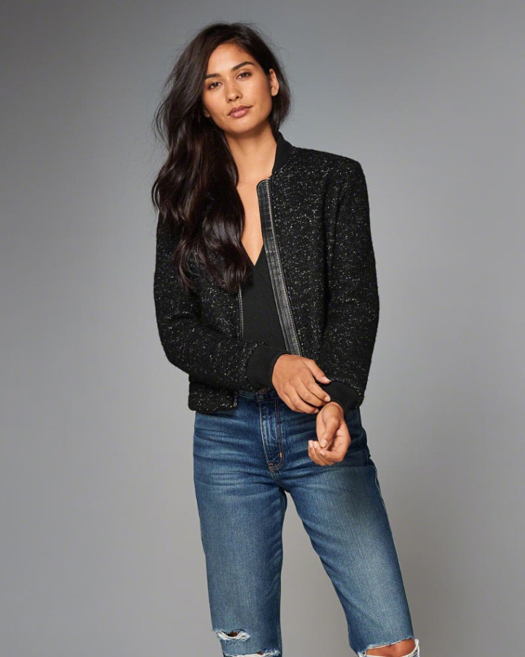 Abercrombie & Fitch Wool-Blend Bomber Jacket
