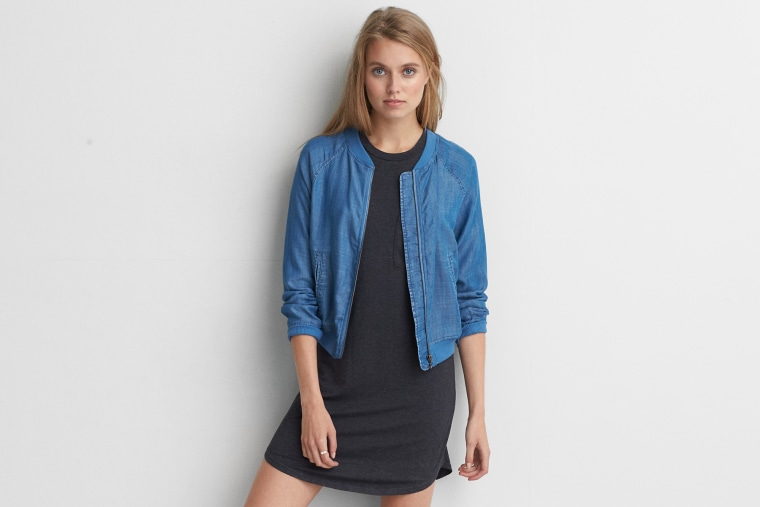 American Eagle Outfitters Chambray Bomber Jacket
