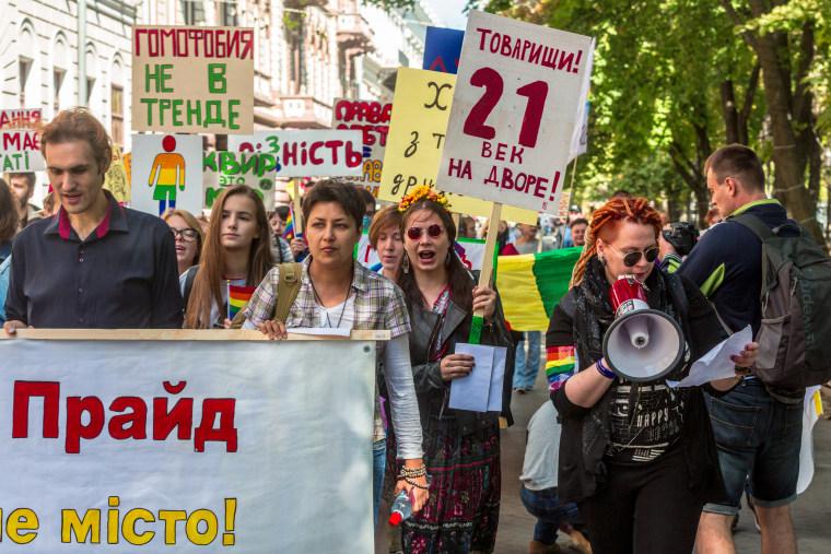A scene from Odessa Pride in Odessa, Ukraine on August 12, 2016.