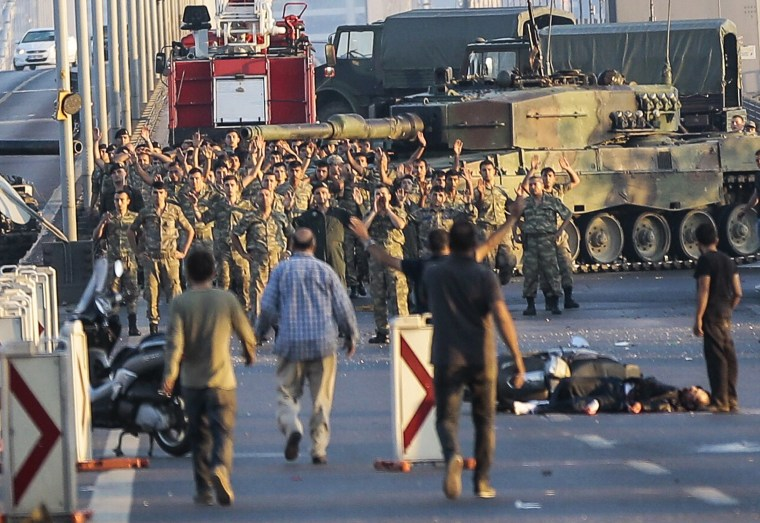 Image: Turkish troops involved in coup surrender on July 16, 2016
