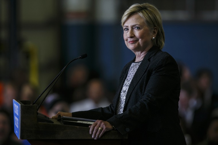 Image: Hillary Clinton, 2016 Democratic presidential nominee, smiles while speaking during a campaign event in Warren, Michigan
