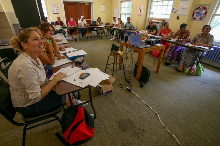 Students learn English at Kentucky Refugee Ministries.
