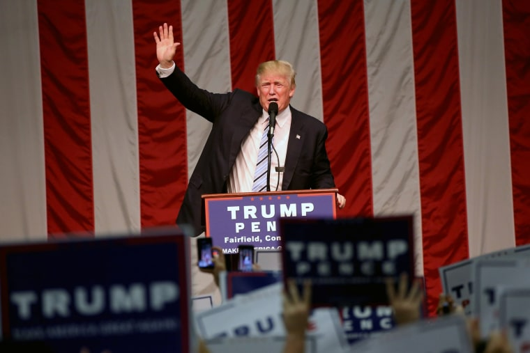 Image: Republican presidential nominee Donald Trump speaks during a campaign event in Fairfield , Connecticut