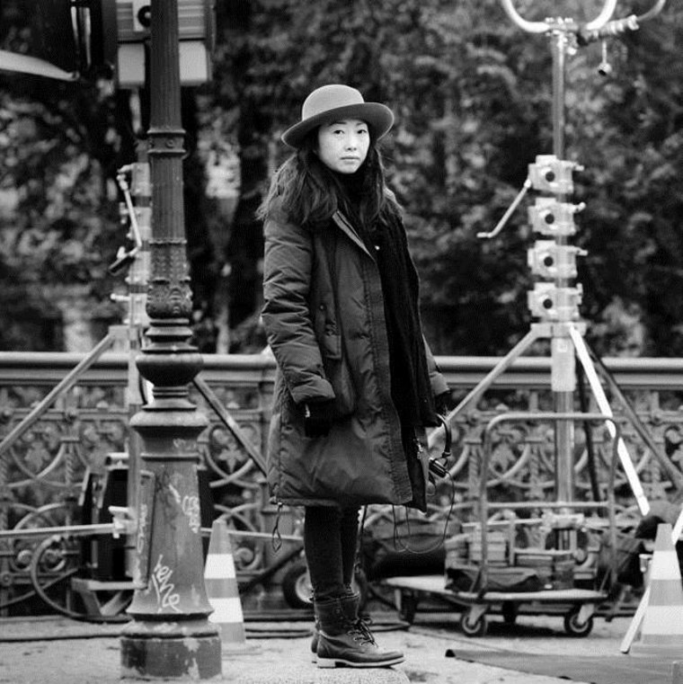 Filmmaker Lulu Wang is pictured on set during the production of one of her films.