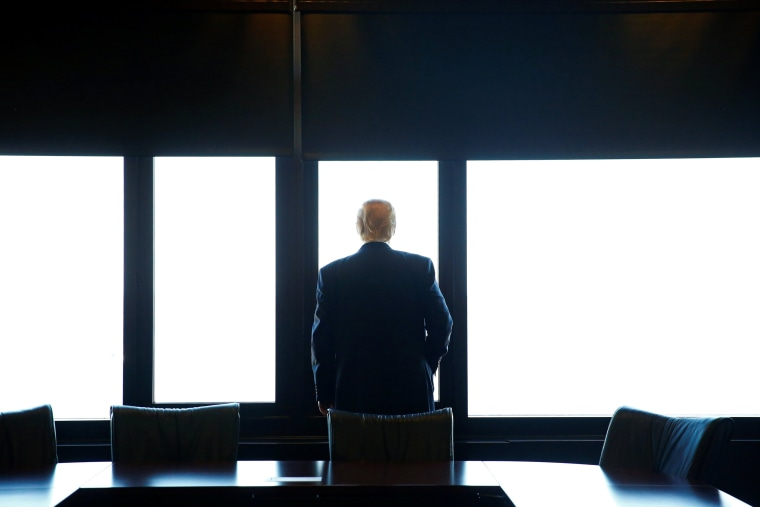 Image: Republican U.S. presidential nominee Donald Trump looks out at Lake Michigan during a visit to the Milwaukee County War Memorial Center in Milwaukee, Wisconsin
