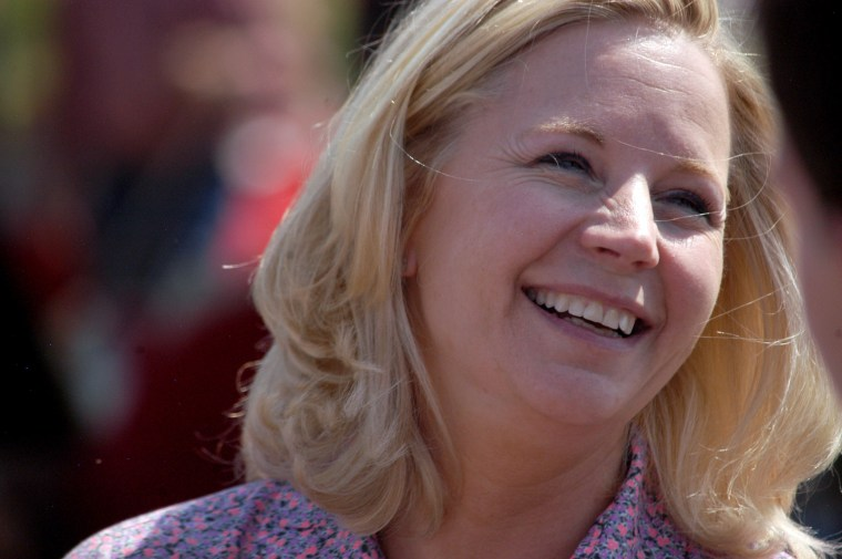 Image: U.S. Senate candidate Liz Cheney speaks with voters during a Republican and Tea Party gathering in Emblem, Wyoming