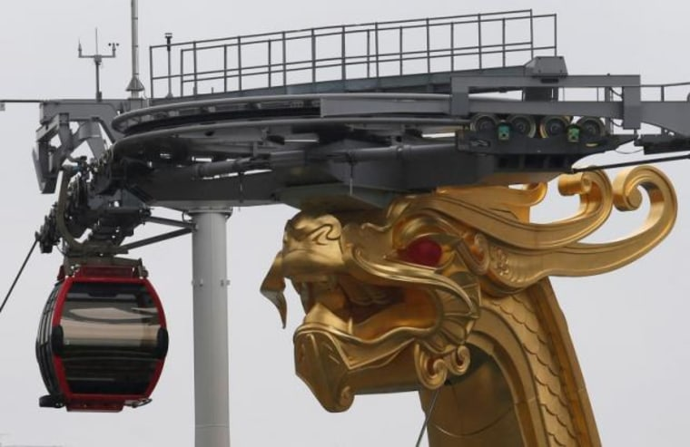 A cable car network is seen outside Wynn Palace before its opening in Macau