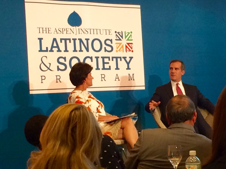Los Angeles Mayor Eric Garcetti spoke at the summit about how people shouldn't depend solely on elected officials to create change.