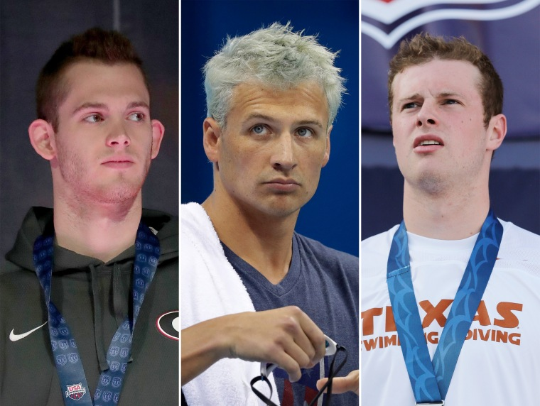 Team USA swimmers Gunnar Bentz, Ryan Lochte and Jack Conger.