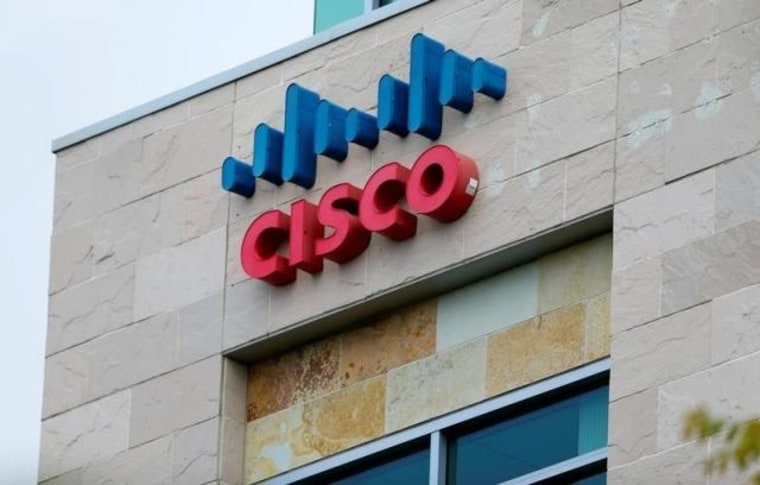 The logo of Dow Jones Industrial Average stock market index listed company Cisco is seen in San Diego California
