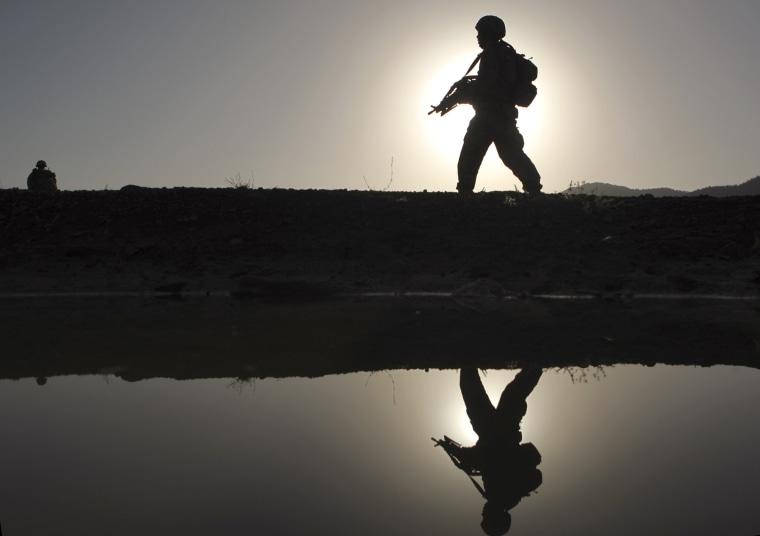 A U.S. soldier patrols Zerok district, East Paktika province, Afghanistan in 2009.