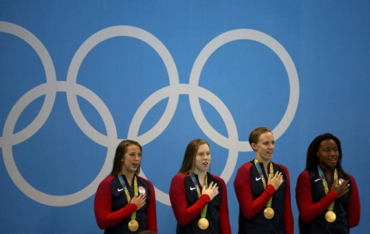 Swimming - Women's 4 x 100m Medley Relay Victory Ceremony