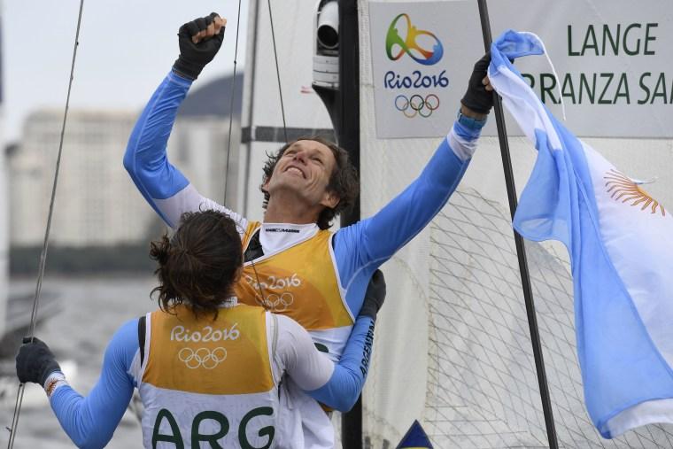 Argentina's Santiago Lange and Cecilia Carranza Saroli Celebrate After Ainning the Nacra 17