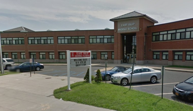 The East Islip Middle School, shown in a still taken from Google Street View, where Nashwan Uppal was allegedly forced to write a document that he was a terrorist.