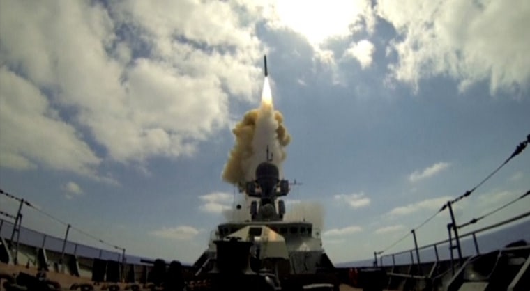 Image: Still image shows Russian warship firing cruise missiles at Syrian targets