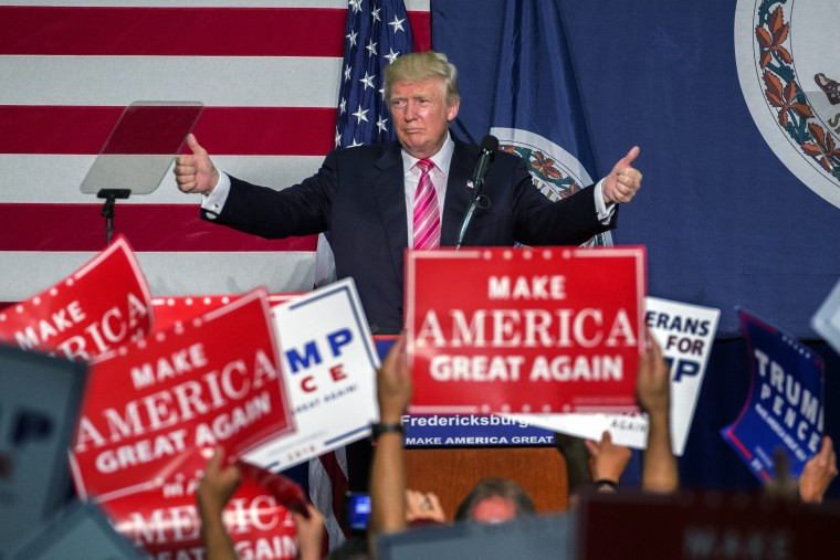 Image: Republican presidential nominee Donald Trump delivers remarks at a campaign rally in Fredericksburg, VA