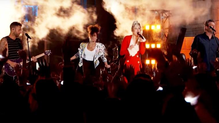 "Miley Cyrus, Alicia Keys, Adam Levine and Blake Shelton: ""Dream On"" - The Voice 2016"