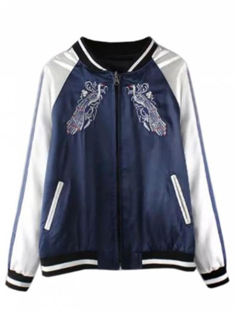 ABADAY blue embroidery bird contrast sleeve bomber jacket