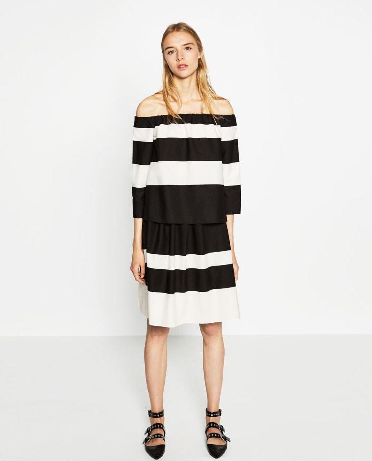 Zara off-the-shoulder striped blouse
