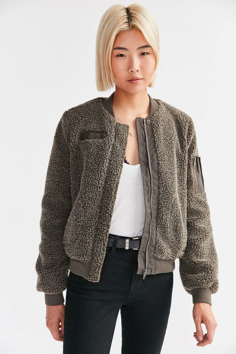 Urban Outfitters BDG Cozy Teddy Bomber Jacket